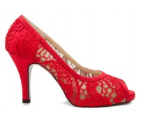 Kaydence Red Satin Lace Wedding Shoes
