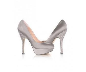 Tahlia Grey Satin Rhinestone Wedding Shoes