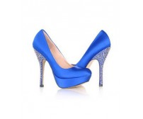 Tahlia Blue Satin Rhinestone Dinner Shoes