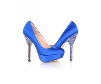 Tahlia Blue Satin Rhinestone Dinner Shoes