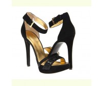Trish Black Silk Glitter Dinner Sandals