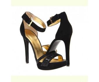Trish Black Silk Glitter Dinner Sandals