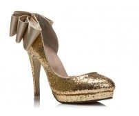 Erin Gold Glitter Bow Dinner Shoes
