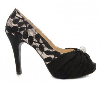 Abbie Black and Champagne Colour Lace Dinner Shoes