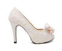 Fiona  White Lace And Satin Wedding Shoes