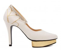 Elowen Ivory White Satin Contrast Wedding Shoes