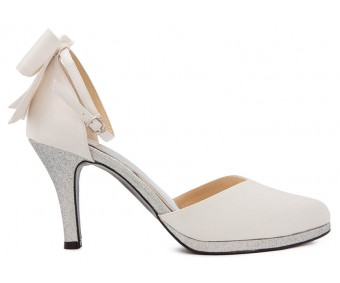 Sabella Ivory White Satin  Wedding Shoes