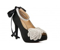 Paola Black Satin With Applique  Diamante  Dinner Shoes