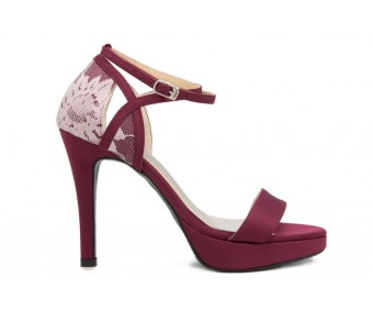 Abia Burgundy and White Lace Dinner Shoes