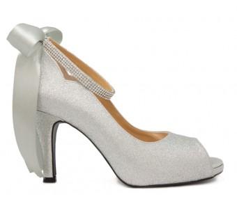 Freya Silver Glitter Back Bow Wedding Shoes