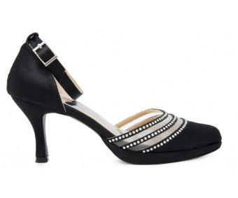 Joni Black Satin With Swarovski Rhinestone Dinner Shoes