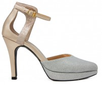 Ulrica Gold and Silver Dinner Sandals
