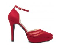 Joni Wine Red  Silk Dinner Shoes