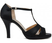 Rhea Black Satin Silk Casual Sandals