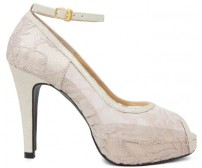 Marcella Beige Lace With Gold Glitter Dinner Shoes