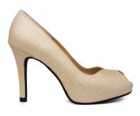 Rita Gold Glitter Platform Wedding Shoes