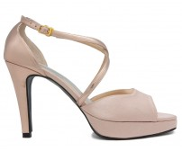 Carey Nude Pink Satin With Rose Gold Metallic Dinner Shoes