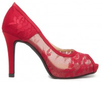 Marcella Wine Red Lace Silk Dinner Shoes