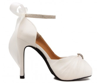 Audrey Ivory White Satin Chiffon Buckle Wedding Shoes