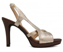 Emma Gold And Brown Contrast  Casual Sandals