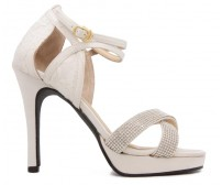 Scarlett Ivory White Satin With Diamante Sandals