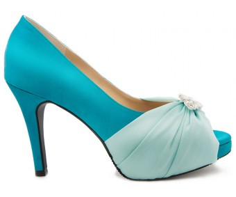Abbie Turquoise  Colour Silk Dinner Shoes