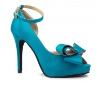 Tristany Bow Turquoise Silk Dinner Shoes