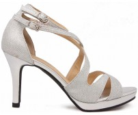 Tasha Silver Glitter Wedding Sandals