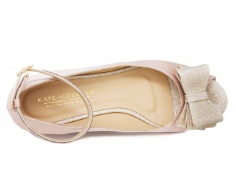 Fanny Nude Pink Satin Diamante Wedding Flats