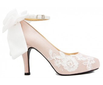 Isabel Nude Pink Satin With White Satin Bow And Lace Wedding Shoes