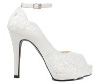 Resnemee Ivory White With French Lace Wedding Shoes