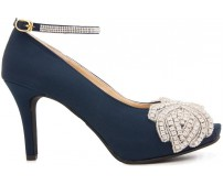 Paola Navy Blue Silk With Applique  Diamante  Dinner Shoes