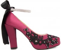 Bebe Black Lace Diamante Dinner Shoes