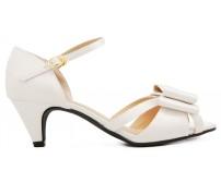 Selena Ivory White Satin Bow Wedding Sandals