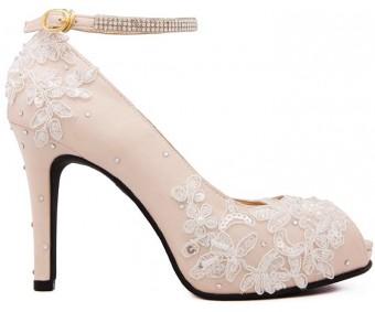* Kate Light Beige Silk Diamante Swarovski Rhinestone Wedding Shoes