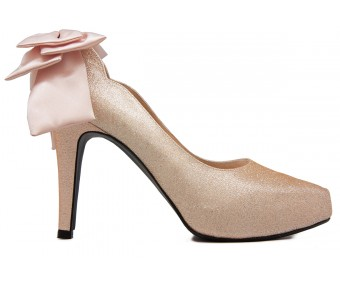 * Jacqueline Champagne Luzzi Glitter Bow Wedding Shoes