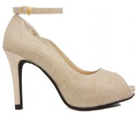 Cirila Gold Glitter Wedding Shoes (Ready Stock)