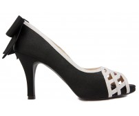 Alison Black Satin Bow Dinner Shoes