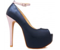 Preslie Navy Blue PU Contrast Casual Shoes
