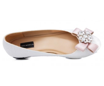 Rainey White Lace With Buckle Wedding Flats