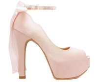 Freya Nude Pink Satin Back Bow Wedding Shoes