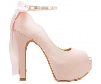 Freya Nude Pink Satin Back Bow Wedding Shoes
