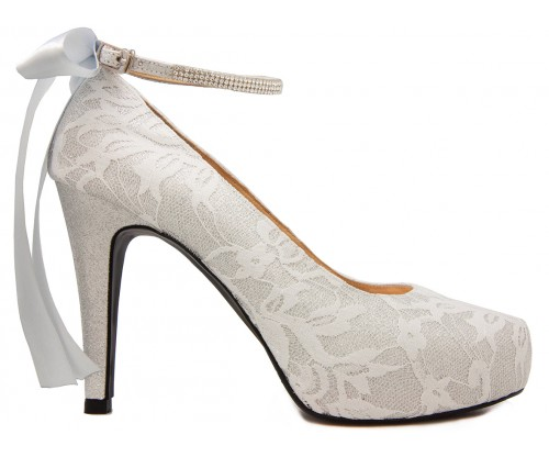 Lyla Silver Glitter With White Lace Diamante Wedding Shoes