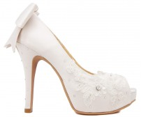 Chloe Ivory White Satin Swarovski Rhinestone Wedding Shoes