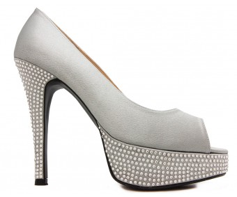 Vivienne Grey Satin Swarovski Rhinestone Wedding Shoes