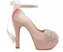 Paola Nude Pink Satin With Applique  Diamante  Dinner Shoes