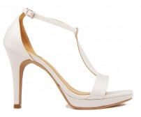 Nina Ivory White Satin Wedding Sandals