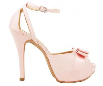Della Pink Satin Wedding Sandals