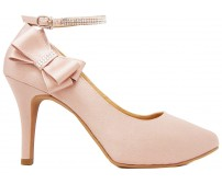 Carmen Nude Pink Satin With Swarovski Wedding Shoes