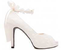 Carin Ivory White Lace With Lace Ribbon Strap Wedding Shoes